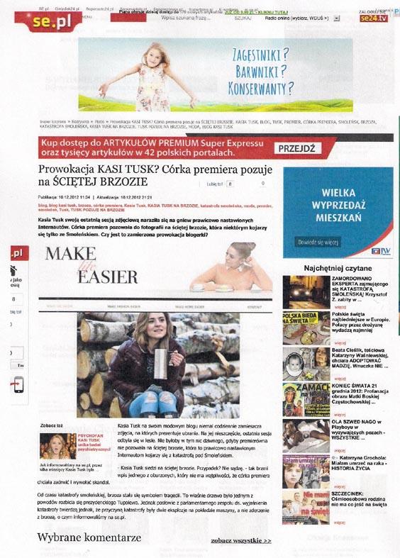 Fragment wydruku strony internetowej se.pl z tekstem o zdjęciu Kasi Tusk z blogu Make Life Easier