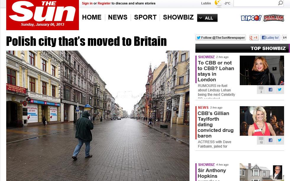 """Fragment strony """"The Sun"""" z 6 stycznia 2013 roku"""
