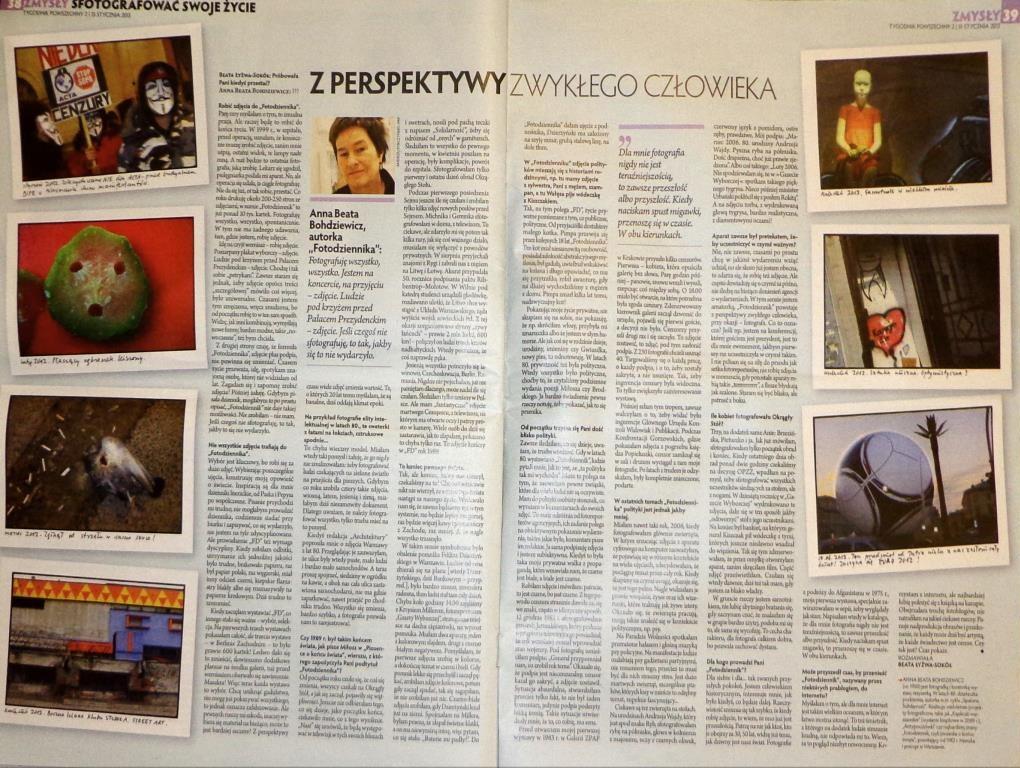 """Rozkładówka """"Tygodnika Powszechnego"""" z wywiadem z Anną Beatą Bohdziewicz"""