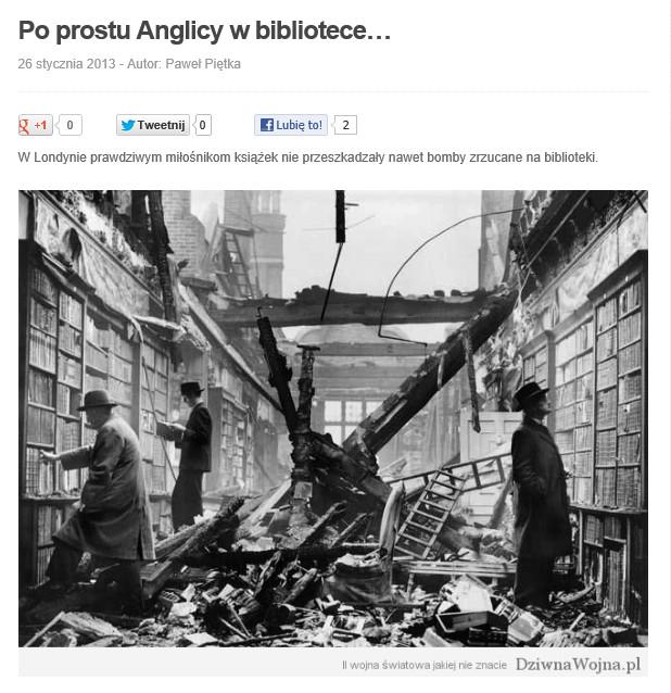 Fragment strony dziwnawojna.pl ze zdjęciem biblioteki Holland House, stan z 27.1.2013.