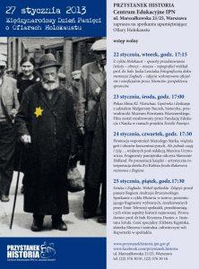 Plakat zapowiadający spotkania z okzji Międzynarodowego Dnia Pamięci o Ofiarach Holokaustu.