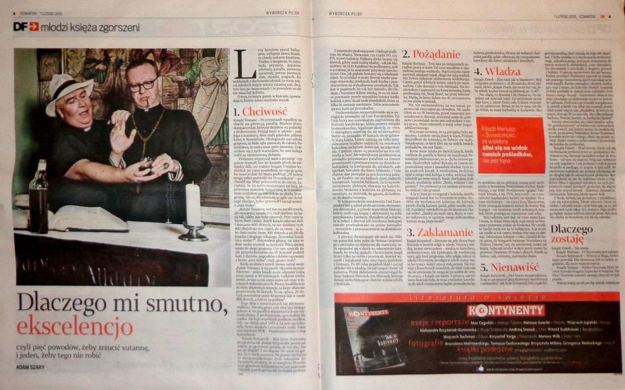 """Strony """"Dużego Formatu"""" nr 6 z 2013 z artykułem o księżach."""