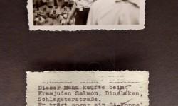 Kopia obu stron fotografii przedstawiającej Niemców, którzy nie podporządkowali się ogłoszonemu przez nazistów bojkotowi żydowskich sklepów, wykonanych latem 1935 r. w Dinslaken w Dolnej Nadrenii przez Hansa Käbela.