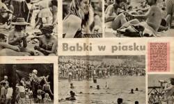 """Wiesław Prażuch, Fotoreportaż: Babki w piasku, """"Świat"""", nr 25 z 1961 r., s. 12-13, MNW"""